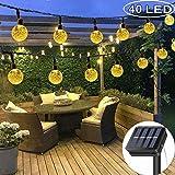 DeepDream Solar Lichterkette Außen mit LED Kugel 7.5M 40LEDs 8 Modi IP65 Wasserdicht Warmweiß,Kristallbälle Beleuchtung für Garten, Bäume,...