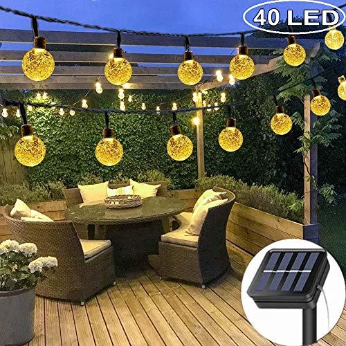 DeepDream Solar Lichterkette Außen mit LED Kugel 7.5M 40LEDs 8 Modi IP65 Wasserdicht Warmweiß,Kristallbälle Beleuchtung für Garten, Bäume, Weihnachten, Hochzeiten, Partys[Energieklasse A++]