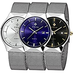 3 PCS Men's Elite Sport Mesh Band Watch With Date
