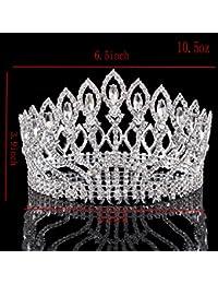 Santfe 3.9 Inch Altura Tiara de Novia Diadema con Rhinestones para Fiesta Boda Novia Boda Corona de Cristal Prom Party