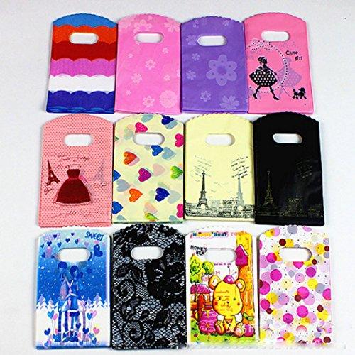 bolsas de compras plásticas brillantes de la mercancía de 100 PCS, bolso de compras al por menor bolsa de ropa del bolso con las manijas, color al azar, 9.8 'X 13,5'