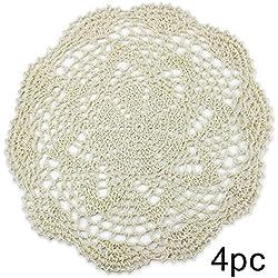 PsmGoods® Hecho a mano algodón encaje mesa manteles individuales redondo flor de ganchillo Doilies–Juego de posavasos (4unidades), algodón, Burlap, 8 Round 25cm Beige
