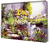 Diy oil painting, paint by number kits- Dream hut 16*20 inches.