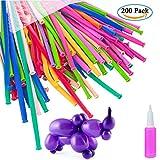 MOOKLIN 200pcs Modellierballons Lange Ballons Magische Luftballons Tierballons Mehrfarbenballons + Ballonpumpe (zufällige Farbe) für Kindergeburtstag Party Hochzeit Dekoration