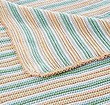Sonnenstrick Erstlingsdecke / Babydecke / Kuscheldecke / Strickdecke aus 100 % Bio Baumwolle kba made in Germany 80 x 80 cm gestreift grün - 2