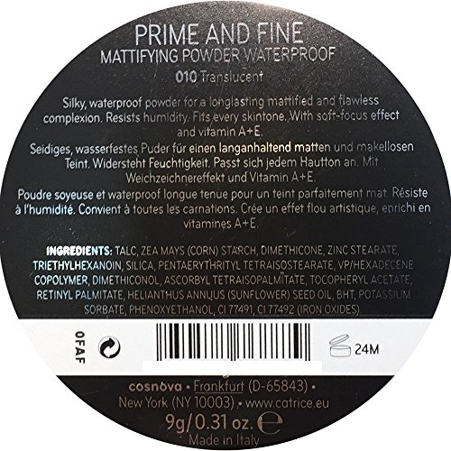 Catrice Prime And Fine Mattifying Powder Waterproof Translucent 010, 100 g
