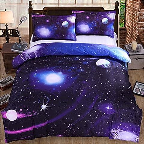 Stillshine 3D Printing Nebula Galaxy Stars Pattern Bedding Quilt Duvet Cover Set (Queen Size, Mysterious Cosmos G)