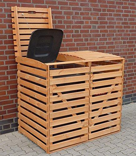 PROMADINO Mülltonnenbox, für 2×120 l aus Holz, B/T/H: 130/63/111 cm braun - 2