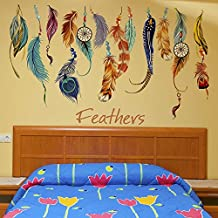 Hermosa, desmontable, PVC, colores, plumas, pared, palitos, tamaño: 78 * 48cm