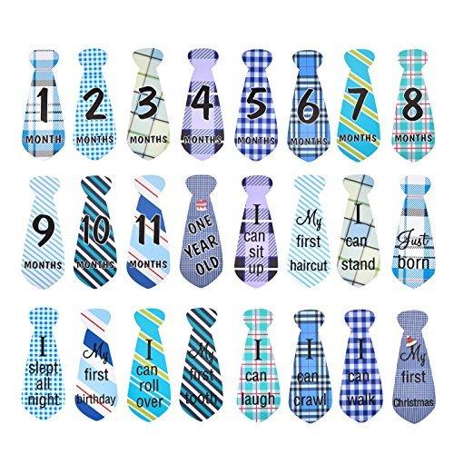 22 Pack Baby monatliche Krawatte Onesie Aufkleber monatlichen und Urlaub Meilenstein Aufkleber Krawatten (Onesies Monat Aufkleber)