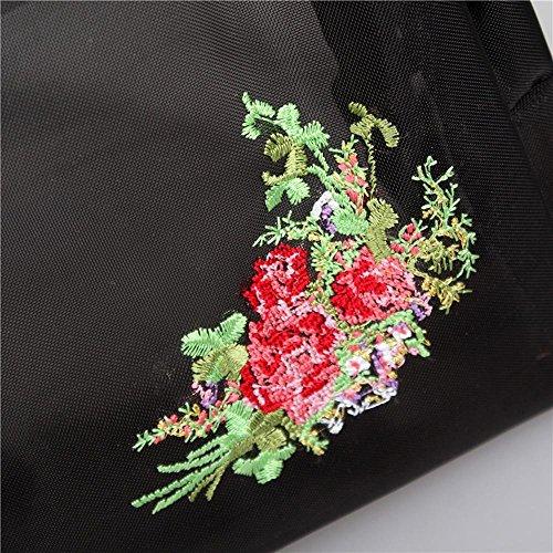 GBT Multifunktionale Waschbeutel wasserdicht und langlebig Blumen Black