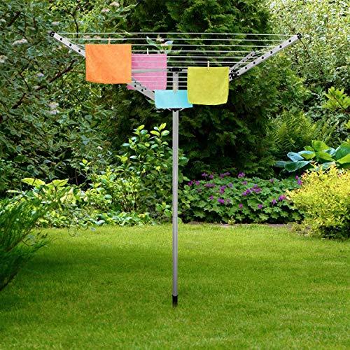 ECD Germany - Wäschespinne - 40m - Aluminium - Höhe ist von 135 cm bis 180 cm verstellbar - 175 cm Diagonale - mit automatische Einrastfunktion - Wäscheständer Wäscheleine Wäschespindel