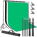 Neewer 2,6x3m Sistema di Supporto per Fondale Sfondo con 1,8x2,8m Fondale in Poliestere (Bianco, Nero, Verde), Morse Clip & B