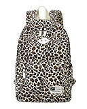 Moollyfox Donne Leopard stampa zaino da viaggio Stile preppy borsa di scuola Grande capacità Zaino Studenti Marrone