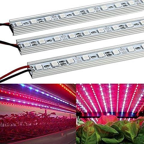 XJLED 10W 36-leds 12VDC LED Grow luz de tira Bar Luz para Crecimiento de Plantas Para cultivo de plantas en interior. Seeding Invernadero hidroponía (5unidades, 1/2meter, Rojo 660nm)