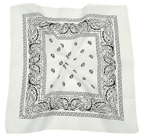Y-BOA Foulard de Tête Bandana Femme Fichu Imprimé Fleurs Châle Echarpe Blanc