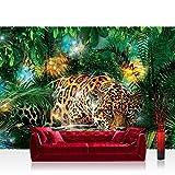 Fototapete 368x254 cm PREMIUM Wand Foto Tapete Wand Bild Papiertapete - Tiere Tapete Leopard Tier Raubkatze Katze Dschungel Blätter grün - no. 2381