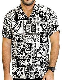 La Leela flore tropicales hawaïennes courte aloha manches caribbean Chemise hommes xs noir - 5XL