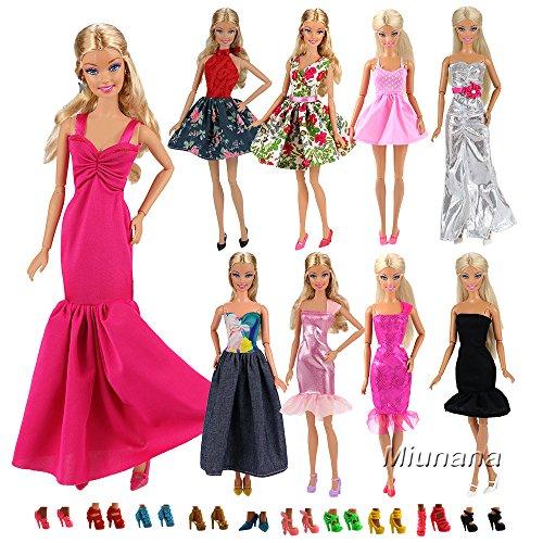 Miunana 5x Vestidos de noche + 10 Zapatos Vestir de Fiesta Faldas Suave Ropas Fashion Hechos a Mano Accesorios para Barbie Muñeca Doll Estilo al Azar