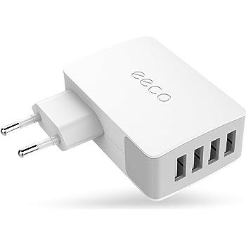 eeco Chargeur Secteur USB 4 Port 27W Universel Secteur Mural Recharge Rapide Adaptateur Secteur USB pour iPhone, iPad, Samsung et les autres smartphones et tablettes