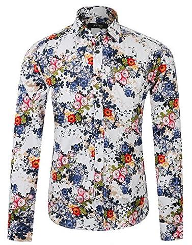 APTRO Men's Spring Flower Printing Fashion Lapel Long Sleeve Shirt #16024 Green XXXL