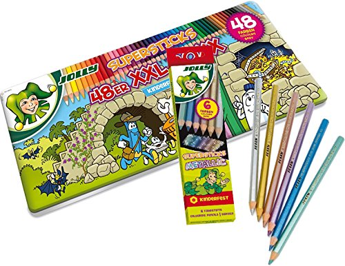 JOLLY Buntstifte Supersticks Kinderfest XXL Box, 48 Stifte in Metalletui + Buntstifte kinderfest...