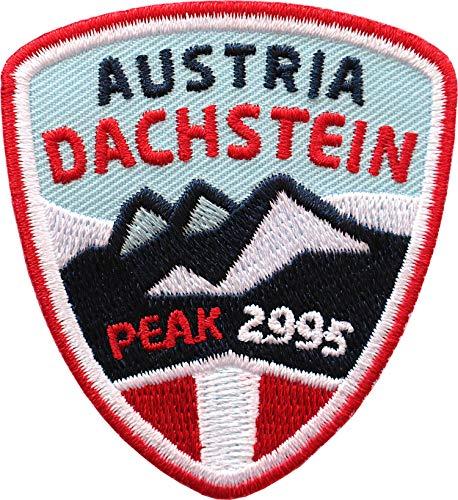 2 x Dachstein Austria Abzeichen 55 x 60 mm gestickt / Österreich Bergtour Bergsteigen Wandern Klettern Klettersteig / Aufnäher Aufbügler Sticker Patch für Kleidung Rucksack / Wanderführer Tourenkarte