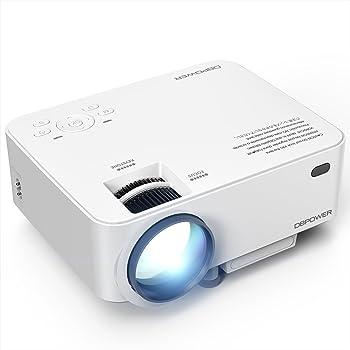 DBPOWER T20 Videoproiettore Portatile Full HD 1080P, Con Cavo HDMI Gratuito USB/SD/VGA/AV - Bianco