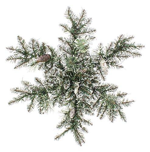 Set 2 x di stella di natale artificiale christa con pigne e brillantini, neve artificiale, con lucine led, Ø 75 cm - 2 pezzi di stella di natale luminosa / ghirlanda innevata - artplants