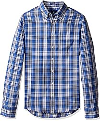 Gant Mens Windblown Oxford Plaid Fitted Button Down Shirt, Yale Blue, Small