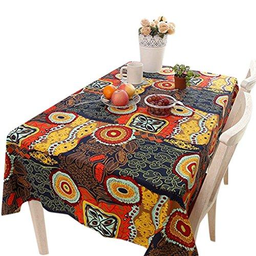 kakiyi Ethnic Art-Rechteck-Anti-Schmutz-Tischdecke Baumwollleinengewebe Heim Esszimmer Tischdecke