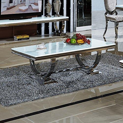 Couchtisch Wohnzimmertisch Emilia 130 x 70 x 44 cm Weiss Barock stil Tisch Edelstahl