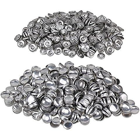 WEONE argento 14mm Bottoni Dia tessuto di copertura in alluminio copertura Auto 24L posteriore piana cabochon Bottoni fai da te (confezione da 500)