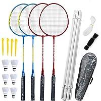 Professional Badminton Set 2//4 Player Pro Racket Shuttlecock Bag Outdoor Games