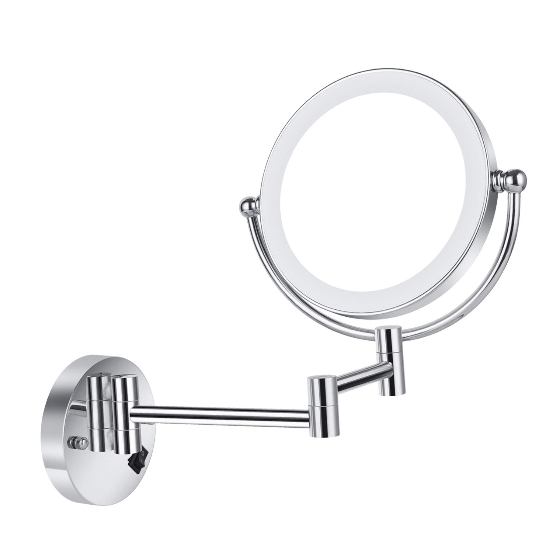Specchio Per Trucco Da Parete.8 1 5x Specchio Da Parete Per Bagno Specchio Trucco Led Con Luci Ingranditore 5x Cromo Cavo Certificato Ce Casame