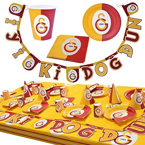 Balon Evi Galatasaray Party Set für 8 Kinder - Pappbecher Pappteller Servietten Tischdecke 38 Teile Set 1 Dekoration