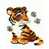 "Riolis HB092 Kreuzstich-Set ""Tiger"", Baumwolle, Mehrfarbig, 15 x 18 x 0.1 cm"