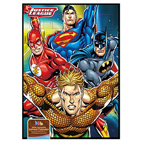 BonBonBuddies Justice League Adventskalender Batman Superman The Flash Aquaman - DC Comics mit 65g Milchschokolade -