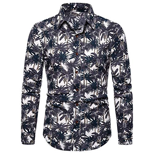 Xmiral Shirt Hemd Herren Geschäft Freizeit Druck Langarm Shirt Top Bluse Männer Geschenk T-Shirt Top Print Shirt Casual Basic Slim-Fit Langarm-Hemden(Grau 2,3XL)