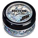 Holographischer grober Glitzer von Moon Glitter - 100% kosmetische Glitzer für Gesicht, Körper, Nägel, Haare und Lippen - 3g - Silber