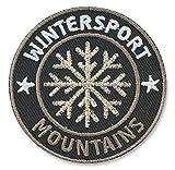 2 x Abzeichen gestickt 55 x 55 mm silber / Berge Mountains Ski Winter Sport / hochwertige Stickerei mit Silber metallic / Aufbügler Applikation Patches Patch Bügelbild für Kleidung Jacke Jeans Taschen