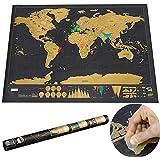 LEAGUE&CO Carte du monde de la nouveauté Éraflure éducative Arrêt Carte Affiche Carte de voyage Plan de mur