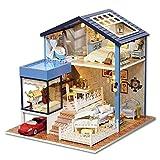 Kingko® Geben Sie das Kind ein cooles Geschenk kühl super handgemachtes Miniaturpuppenhaus 3D hölzernes DIY Haus mit hellem festlichem Geschenk (Dollhouse)