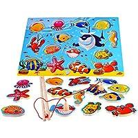 14 pezzi pesci di legno educativi Bagno magnetica pesca d'altura, regalo di compleanno Giocattoli per 3 4 5 anni dei bambini del capretto del bambino del della ragazza del ragazzo magnete giocattolo