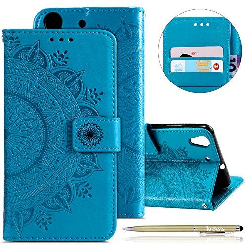 Kompatibel mit Handytasche Huawei Y6 II/Honor 5A Lederhülle Mandala Blumen Prägung Muster Handyhülle Ledertasche Bookstyle Klapphülle Flip Case Cover Schutzhülle Mit Magnetverschluss,Blau
