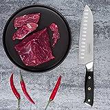 Mascot XM Santokumesser Küchenmesser Japanisches Kochmesser Sushi Messer 17CM Hohle Schneide Geschmiedetes Messer Deutscher HC Edelstahl mit Ergonomischem Griff für Haus und Restaurant - 5