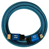 [i!] 5m Premium Nylon High Speed HDMI Kabel [Neuste Generation] kompatibel mit HDMI 2.0 - 2.0a/b - 1.4a | 3D 4K Ultra HD 2160p Full HD 1080p Highspeed Ethernet ARC HDR CEC DTS-HD | blau