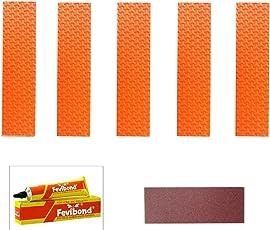 Marigold Cricket Bat Toe Guard Kit (Set of 5pc Toe + 1 Abrasive Strip + 1 Fevibond) (Orange)