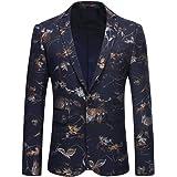YOUTHUP Men's Blazers Slim Elegant Floral Prints Suit Jackets Dinner Chic Coats