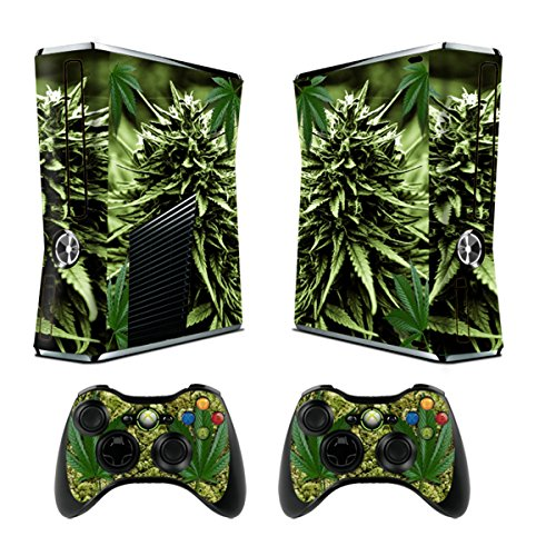 TQS™ Sticker pelle Designer per Xbox 360 Console sottile con due controller wireless decalcomanie- skunk bud